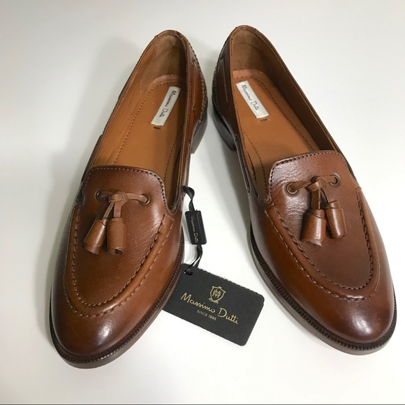 f23791c39ca Massimo Dutti Brown Leather Loafers Shoes Euro 36